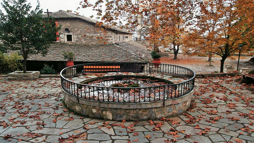 Agia Marina in central square of Kissos village Pelion Greece