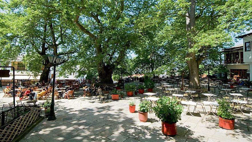 Central square of Portaria village in Pelion Greece